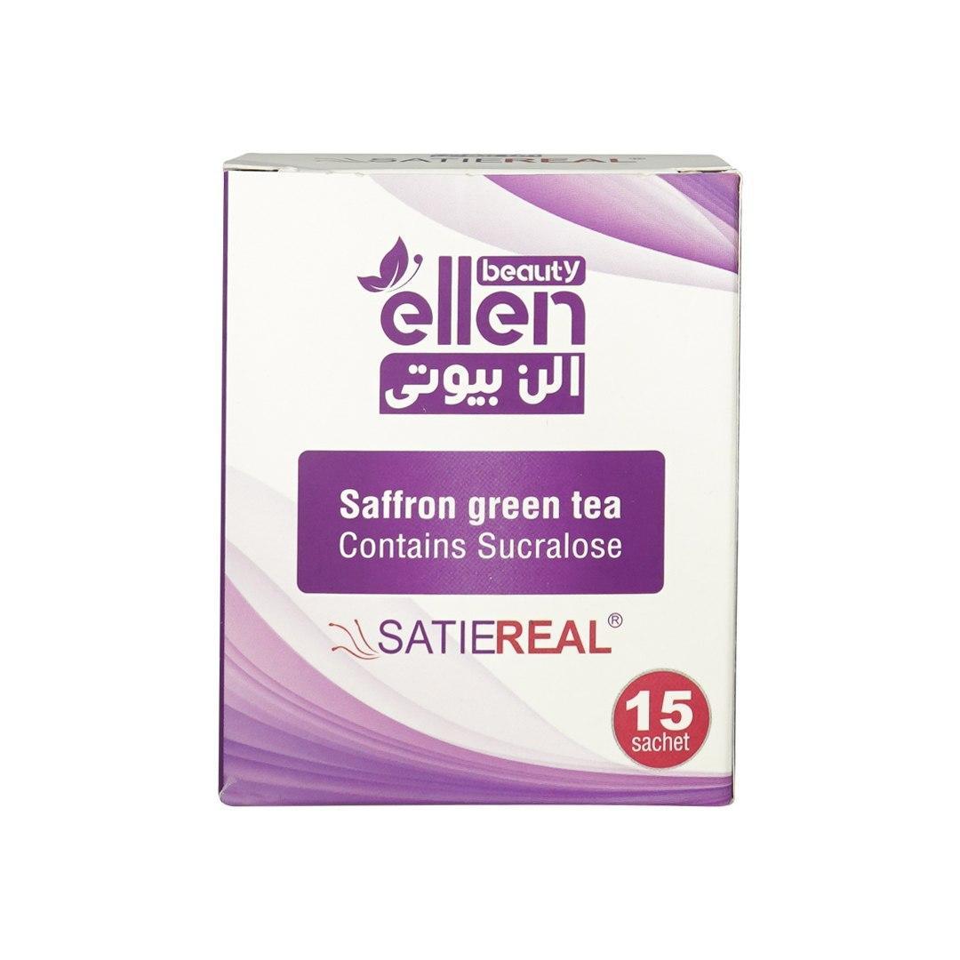 پودر آشامیدنی چای سبز و زعفران (satiereal) بسته 15عددی